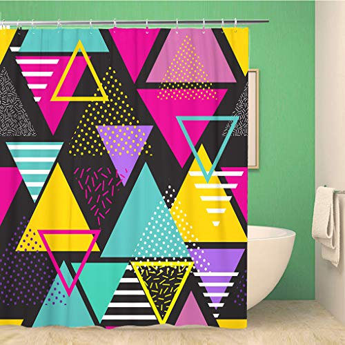 Awowee 72x72 Inches Shower Curtain Geometric Pattern in Retro 80S Style Pop Art Triangles Fashion Style Pattern Ideal Waterproof Polyester Fabric Bath Bathroom Curtain Set with Hooks (Triangle Art Pop)