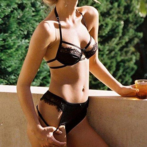 Damen Erotik Dessous Set DOLDOA Reizvoller Push Up Top Bra + Hosen Reizwäsche Unterwäsche Negligee Schwarz,Spitze Spleißen Neckholder Dessous Set