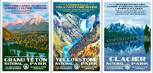 Grand Teton, Yellowstone & Glacier National Park Posters - 3 Pack - Original Artwork