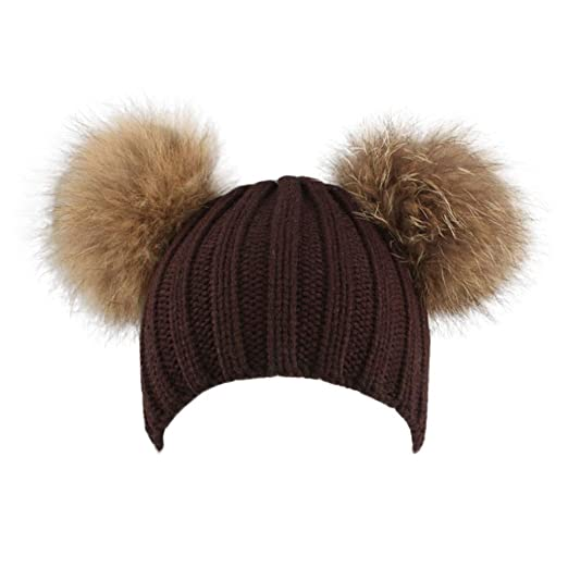 0eab030b44c877 Image Unavailable. Image not available for. Color: 4Clovers Cute Hairball  Caps, Women Bear Double-Ear Fluffy Knit ...