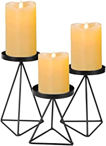 Set of 3 Geometric Metal Candle Holder for Pillar Candles, 3.5