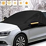 """Windshield Snow Cover, 90"""" X 63"""" Car Windshield Snow Cover with Side Mirror Covers, Double Straps Fixed Design Mirror Snow Protector Windshield Frost Ice Sunshade Cover,Fits Car Truck SUV Van (Black)"""