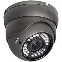 R-Tech 2MP (1080P) HD TVI Outdoor Turret Dome Security Camera with IR Night Vision – 2.8-12mm Varifocal Lens – Black