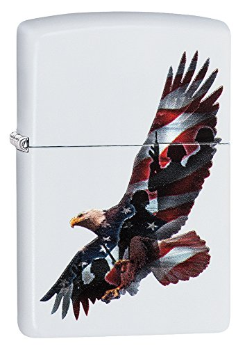 Zippo Eagle & Soldier Pocket Lighter, White Matte