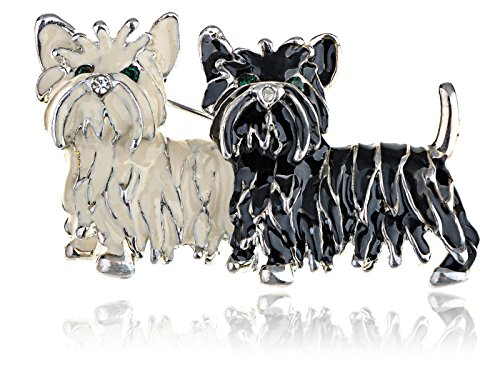 Alilang Cute Black White Shih Tzu Terrier Dog Puppy Love Enamel Cartoon Furry Animal Brooch Pin by Alilang (Image #1)