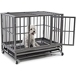 "Fur Family 36"" Heavy Duty Frame Dog Pet Crate Cage Kennel with (4) Wheels, Silver"