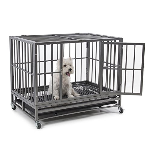 "Fur Family Fur Family 36"" Heavy Duty Frame Dog Pet Crate Cage Kennel with (4) Wheels, Silver price tips cheap"