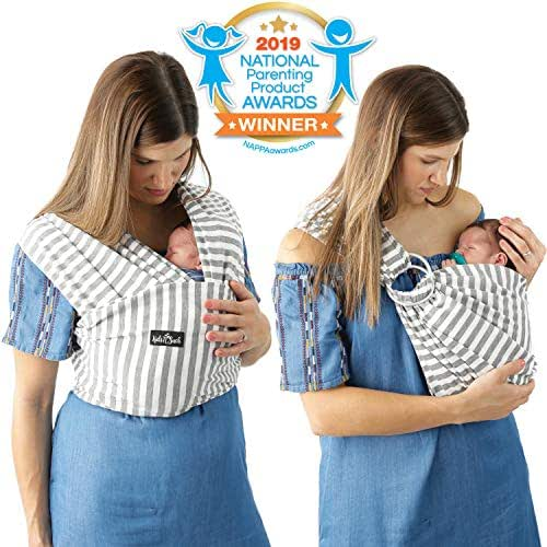 4 in 1 Baby Wrap Carrier and Ring Sling by Kids N' Such   Gray and White Stripes Cotton   Use as a Postpartum Belt and Nursing Cover with Free Carrying Pouch   Best Baby Shower Gift for Boys or Girls