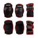 3 Paar Kinder Knie Ellenbogen Handgelenk Schützer Protektoren Set für Rollschuhe/Skateboard/BMX/Inliner in rot / schwarz gemischten Größe M