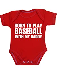 BabyPrem Baby Born to Play Baseball with My Daddy Bodysuit NB-12 mth
