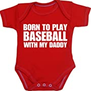 BabyPrem Baby Born to play Baseball with my Daddy Bodysuit NB-12 mth RED 3-6