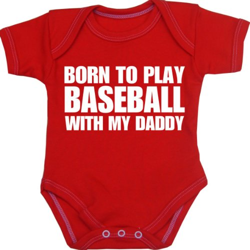 (BabyPrem Baby Born to Play Baseball with My Daddy Bodysuit Red 0-3 Months)