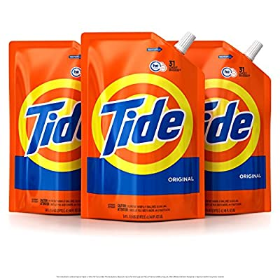 Tide Smart Pouch Original Scent HE Turbo Clean Liquid Laundry Detergent, Pack of three 48 oz, 93 loads