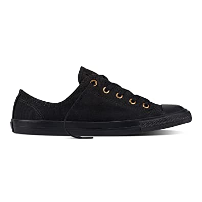 Converse Chuck Taylor All Star Dainty Ox Black Gold Womens Canvas Trainers