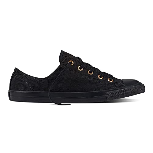 bede3ef75bdb Converse Womens Chuck Taylor All Star Dainty Ox Black Gold Canvas Trainers  37 EU