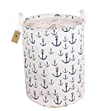 AOBOR Printed Ramie Cotton Fabric Folding Laundry Storage Basket Toy Laundry Hamper with Handle (Ship the cat)