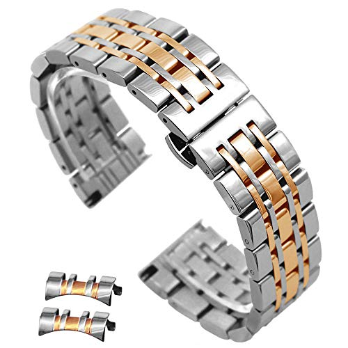 20mm Two Tone Silver IP Rose Gold Solid Stainless Steel Watch Bands Brushed & Polished with Butterfly Clasp Watch Replacement Bracelet ()