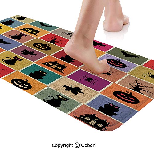 Vintage Halloween Rug Runner,Bats Cats Owls Haunted Houses in Squraes Halloween Themed Darwing Art Decorative,Plush Door Carpet Floor Kitchen Decor Mat with Non Slip Backing,71 X 24 Inches,Multicolor]()