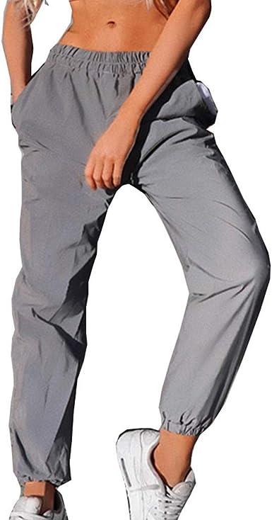 Silverbasic Réfléchissant Pantalon Femme Pas Cher Pantalon De Sport Jogging Taille Haute Elastique Avec Poches Amazon Fr Vêtements Et Accessoires