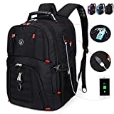 SOLDIERKNIFE Extra Large Durable 50L Travel Laptop Backpack School Backpack Travel Backpack College Bookbag with USB Charging Port fit 17 Inch Laptops for Men Women Including Lock Black: more info