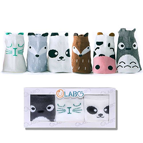 OLABB Toddler Socks with Grips Animal Crew Socks Non-skid 6 Pairs Gift Set (Boys C, M 1-3 (Floor 3 On 100 Floors Halloween)