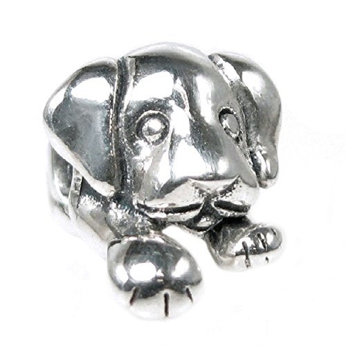(Sterling Silver Lovely Puppy House Dog European Style Bead Charm)