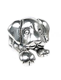 Queenberry Antique 925 Sterling Silver Cute Lovely Puppy House Dog Bead for European Chamilia Biagi Troll Pandora Charm Bracelets
