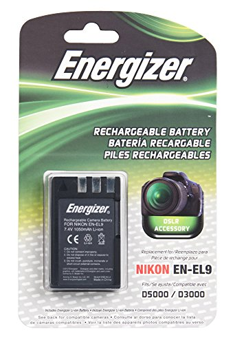 Energizer ENB-NEL9 Digital Replacement Battery EN-EL9 for Nikon D3X, D40, D40X, D60, D3000 and D5000 (Black)