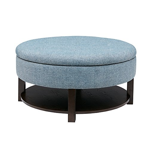 Price comparison product image Svitlife Javier Denim / Morocco Round Storage Ottoman Bench Footstool Blue Gray Furniture Coffee Stool Brown