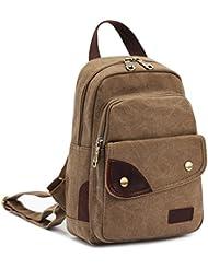 CLELO B495 Vintage Small Canvas Sling Rucksack Backpack Ipad Bag