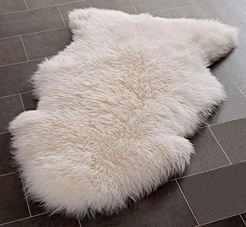 Safavieh Sheepskin Collection SHS121A Genuine Sheepskin Pelt White Premium Shag Rug (2' x 3')