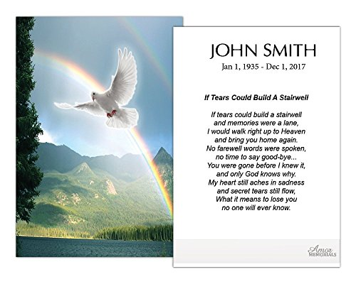 Funeral Memorial Prayer Cards (50 Cards) FPC1226EN Dove Over Rainbow (Custom Printed - Select Desired Prayer) ()