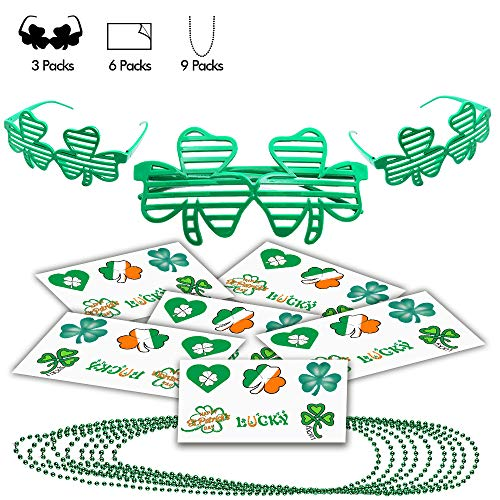 YoHold St. Patrick's Day 3pcs Shamrock Shutter Glasses, 9pcs Bead Necklaces and 36pcs Temporary Shamrock Tattoos for St Patrick's Day Theme Party Favor Decorations, Green