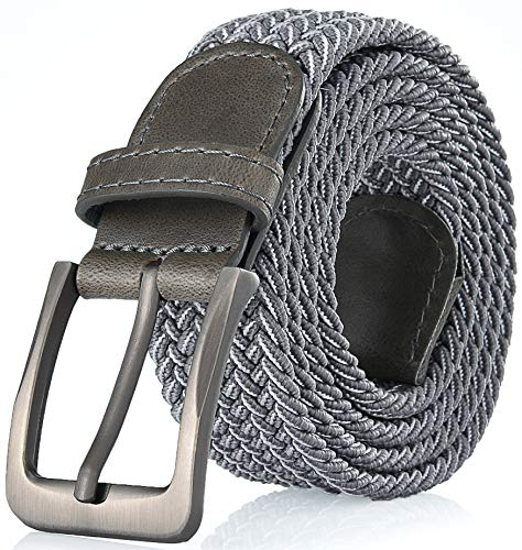 Gallery Seven Woven Elastic Braided Belt For Men - Fabric Stretch Casual Belt - Light Gray - Medium - Gray Woven Leather
