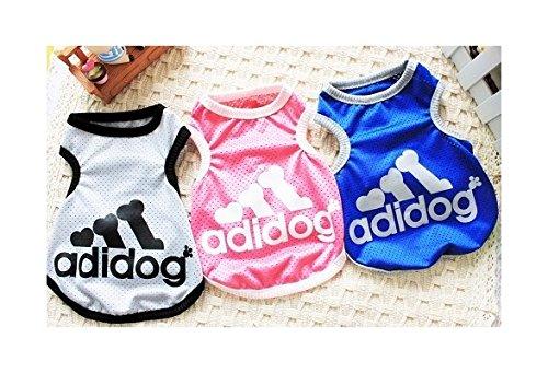 Adidog New winter dog clothes,dog vest autumn and winter puppy jumpsuit,pet hoodies 4 color S M L XL (color: Blue,size: M)