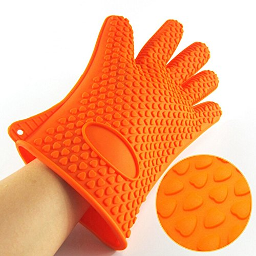 Smart Grip Silicone Oven Mitts - Pair of Best Heat Resistant Orange Silicone oven Gloves for Cooking, Grilling, Baking, BBQ Safe Dotted – Kitchen use, non slip Waterproof
