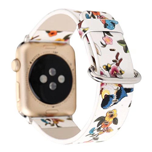 TCSHOW 44mm 42mm Soft PU Leather Pastoral/Rural Style Replacement Strap Wrist Band with Silver Metal Adapter Compatible for Apple Watch Series 4/3/2/1(Z4)