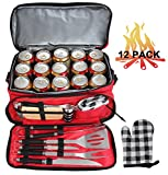 POLIGO 12pcs Stainless Steel BBQ Grill Tools Set with Insulated Waterproof Storage Cooler Bag - Premium Grilling Accessories Utensils - Complete Outdoor Grilling Kit - Birthday Gifts for Men