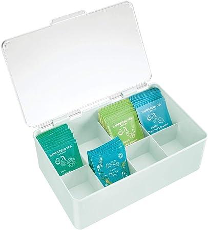 mDesign Caja para té con Cubierta – Cajas de plástico con Tapa para Guardar bolsitas de té, cápsulas de café y más – Moderna Caja con Compartimentos para infusiones – Verde Menta/Transparente: