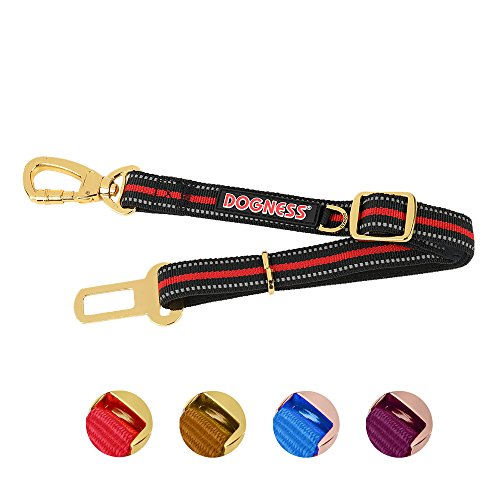 DOGNESS Dog Seat Belt for Pet Travel Safety, Universal Vehicle Harness Tether with Heavy Duty Swivel Carabiner, for Small Medium Large Dogs, Matching Harness Collar Sold Separately, Red, Adjustable by DOGNESS