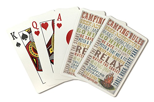 (Table Rock State Park, South Carolina - Camping Rules - Rustic Typography (Playing Card Deck - 52 Card Poker Size with Jokers))