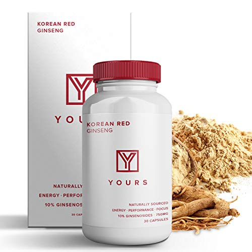 - Authentic Korean Red Panax Ginseng - 10% Ginsenosides Organic 750mg Korean Red Ginseng Vegan Capsules - 30 Day Supply - Potent Red Ginseng Boosts Energy & Focus - Korean Ginseng Amplifies Cognition &