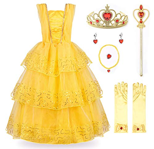 JerrisApparel Princess Belle Deluxe Ball Gown Costume for Little Girl (6, Yellow with ()