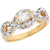 14k Two-Tone Rel Gold Marquise CZ Twist Design Halo Engagement Ring