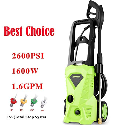 Homdox Power Washer 2600 PSI Electric Pressure Washer 1.6 GPM High Pressure Washer with 4 Nozzles for Car, Garden, Patio