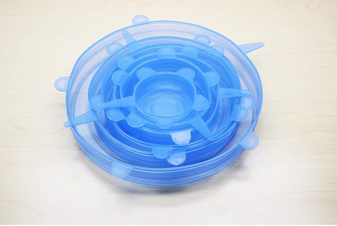 varios tama/ños microondas horno y congelador blanco aptas para lavavajillas sin BPA tapas de silicona para cuencos de alimentos 6 unidades Tapas el/ásticas de silicona tapas para tazas