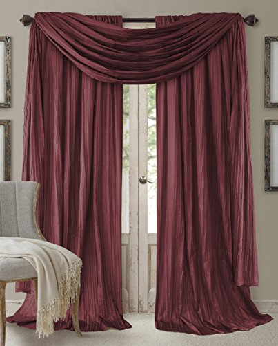 (Elrene Home Fashions 26865855180 Window Curtain Drape Rod Pocket Panel, Set of 3, 52
