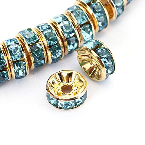 BRCbeads 10mm Gold Plated Crystal Rondelle Spacer Beads 100pcs per bag for jewelery making(#202 (Aquamarine Rondelle Beads)
