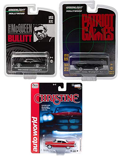 Greenlight Movie Rides Classic Movie 3 car Set Bullitt Steve McQueen Charger + Patriot Games Jeep Wrangler YJ & Christine Plymouth Fury Auto World - Fury Set Plymouth