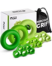 HerculesGrip Hand Grip Strengthener Forearm Workout Kit - 6 Pack -Grip Ring & Finger Stretcher -3 Resistance Levels - Easy, Medium, Heavy - Increase Strength, Improve Dexterity & Speed Up Recovery